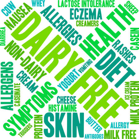 histamine: Dairy Free word cloud on a white background. Illustration