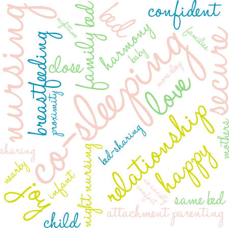 Co-Sleeping word cloud on a white background. Illustration