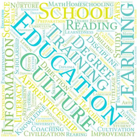 Educación nube de palabras sobre un fondo blanco. Foto de archivo - 69250694
