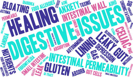 wall of bowel: Digestive Issues word cloud on a white background.