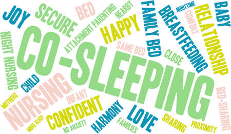 caregivers: Co-Sleeping word cloud on a white background. Illustration