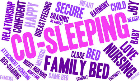 touch sensitive: Co-Sleeping word cloud on a white background. Illustration