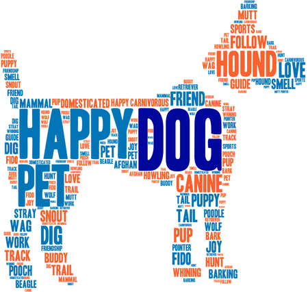 Dog Shaped Dog word cloud on a white background. Illustration