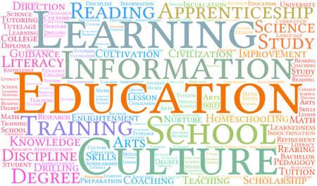 Educación nube de palabras sobre un fondo blanco. Foto de archivo - 69250726