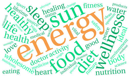 driven: Energy word cloud on a white background. Illustration