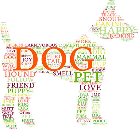 Dog Shaped Dog word cloud on a white background. Ilustrace