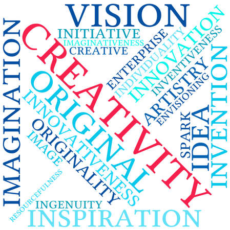 Creativity word cloud on a white background.