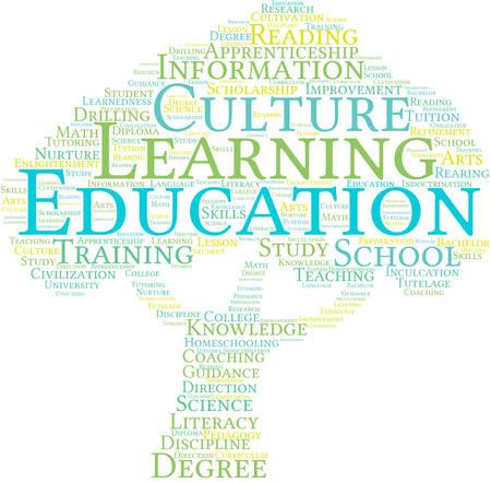 Educación nube de palabras sobre un fondo blanco. Foto de archivo - 69250813