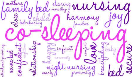 infant bathing: Co-Sleeping word cloud on a white background. Illustration