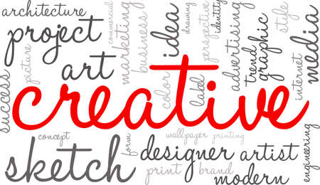Creative word cloud on a white background.