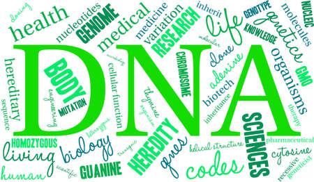 heredity: DNA word cloud on a white background. Illustration