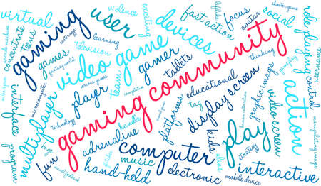 role play: Gaming Community word cloud on a white background.