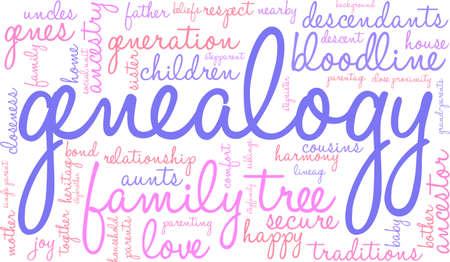Genealogy word cloud on a white background. Reklamní fotografie - 67929324