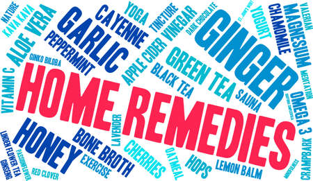Home Remedies word cloud on a white background. Illustration