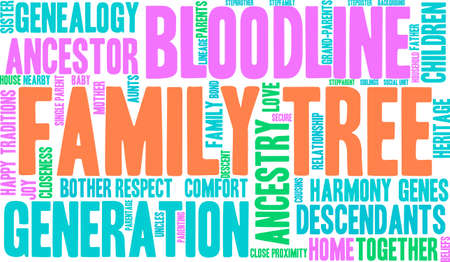 Family Tree word cloud on a white background. Ilustração