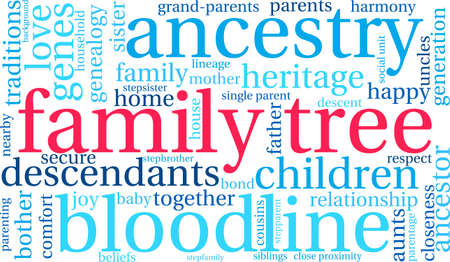 Family Tree word cloud on a white background. Vettoriali
