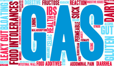 bowel wall: Gas word cloud on a white background.