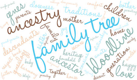 Family Tree word cloud on a white background. Çizim