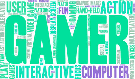 Gamer word cloud on a white background.