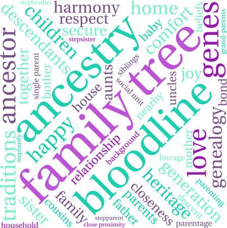 Family Tree word cloud on a white background. Reklamní fotografie - 67929421