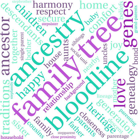 Family Tree word cloud on a white background. Illustration