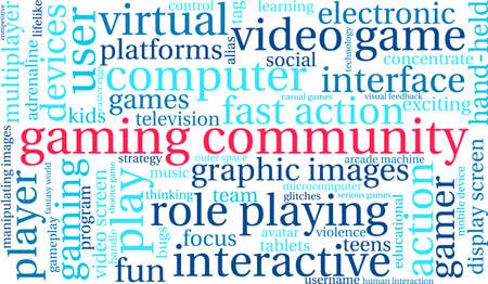 Gaming Community word cloud on a white background.