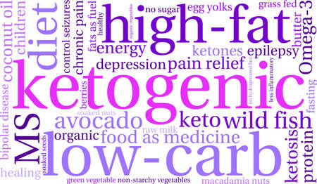 Keto word cloud on a white background. Stock Illustratie