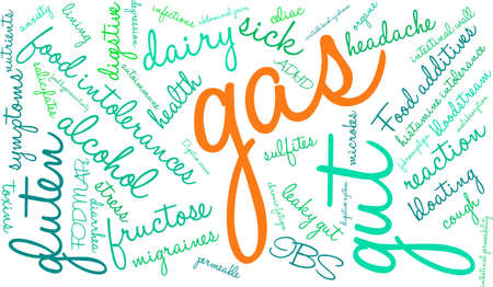 wall of bowel: Gas word cloud on a white background.