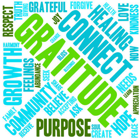gratitude: Gratitude word cloud on a white background.