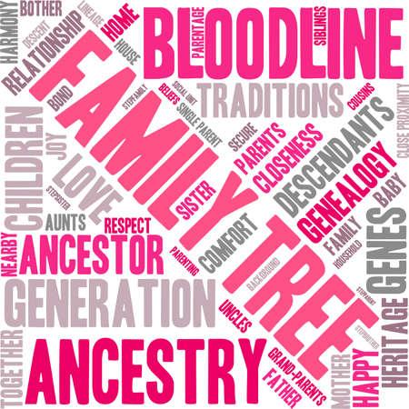 Rbol genealógico nube de palabras sobre un fondo blanco. Foto de archivo - 67929550