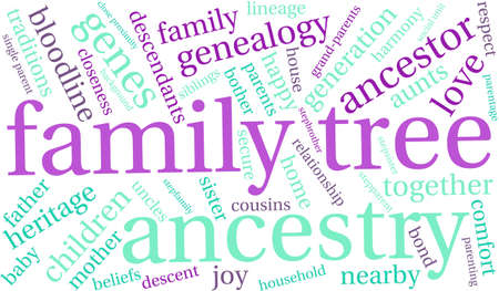 genealogy tree: Family Tree word cloud on a white background. Illustration