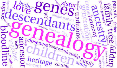 baby grand: Genealogy word cloud on a white background.
