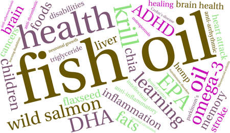 neuronal: Fish Oil word cloud on a white background.