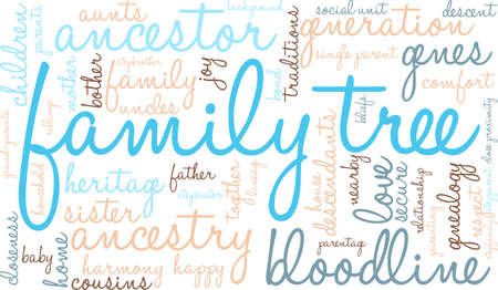 Family Tree word cloud on a white background. Stock Vector - 67929804