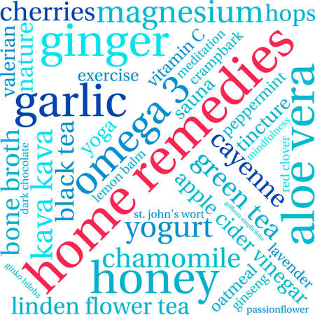 broth: Home Remedies word cloud on a white background. Illustration