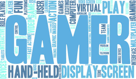 username: Gamer word cloud on a white background.