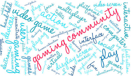 username: Gaming Community word cloud on a white background.