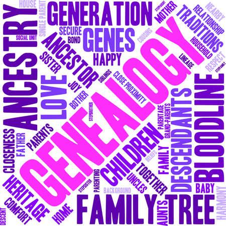 Genealogía nube de palabras sobre un fondo blanco. Ilustración de vector