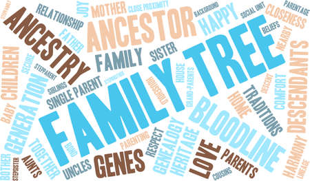 family unit: Family Tree word cloud on a white background. Illustration