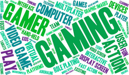 role play: Gaming word cloud on a white background. Illustration