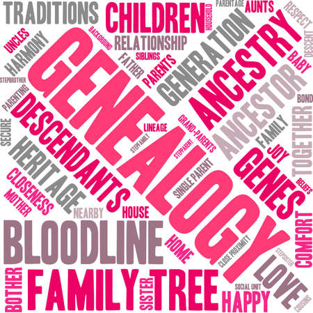 parentage: Genealogy word cloud on a white background.