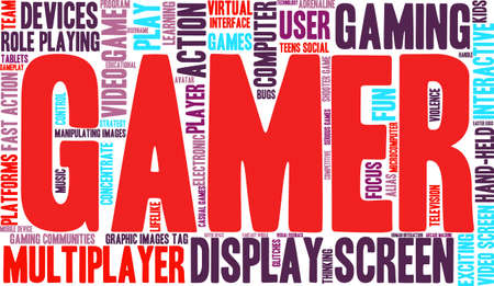 role play: Gamer word cloud on a white background.