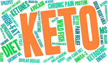 Keto word cloud on a white background. Vectores