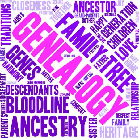 Genealogy word cloud on a white background. Reklamní fotografie - 67929930