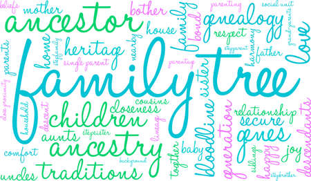 parentage: Family Tree word cloud on a white background. Illustration
