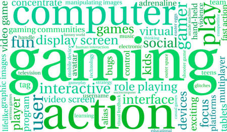 Gaming word cloud on a white background.  イラスト・ベクター素材