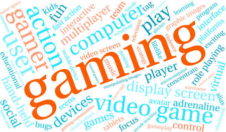 Gaming word cloud on a white background. Illustration