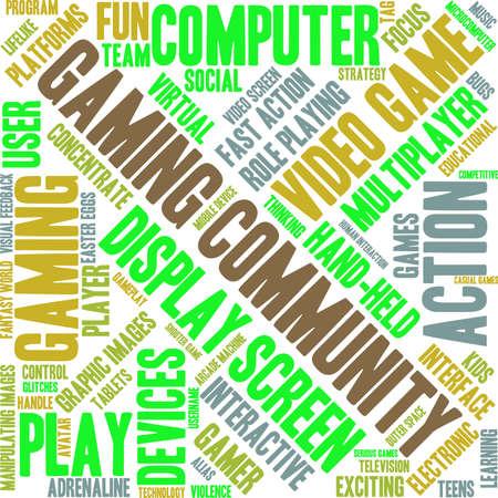 Gaming Community woord wolk op een witte achtergrond.