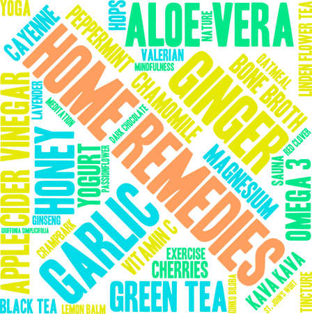 Home Remedies word cloud on a white background. 向量圖像
