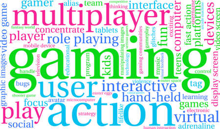 Gaming word cloud on a white background. 向量圖像